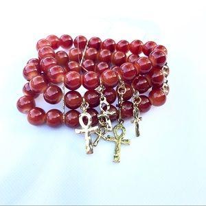Natural Orange Carnelian bead bracelet gold cross